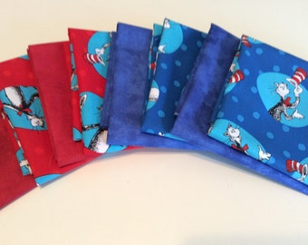 Dr. Seuss, Cat in the Hat Fabric, red, blue  by Robert Kaufman 8 fat quarters