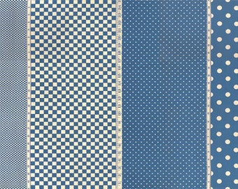 Moda - Pot Luck 2164-24 Blue 4 in 1 Fabric  **Half Yard Cuts**
