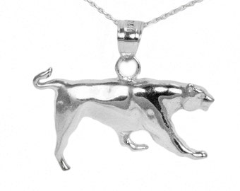 14k White Gold Panther Necklace