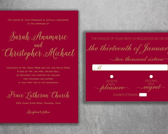 Burgundy and Gold Wedding Invitations Set - Simple Wedding Invitations ,Classic, Red and Gold Wedding Invitations, Affordable, Red Wine