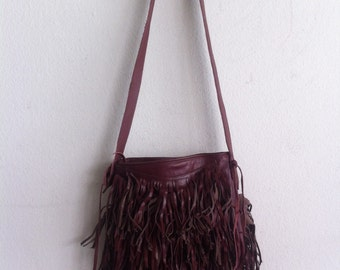 Real handmade bag from soft leather with elements of fashionable leather fringe  new collection women's vinous color bag size - small.