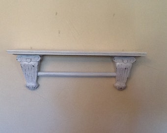 Distressed finish towel rack