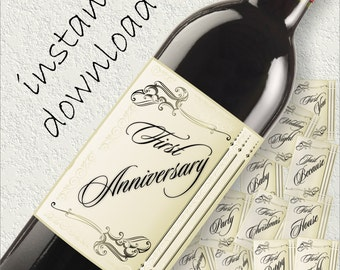 Wedding Firsts Wine Labels, 12 Wine Labels, Anniversary Wine Labels, Engagement Gift, Wedding Gift, Bridal Shower Gift, INSTANT DOWNLOAD DIY