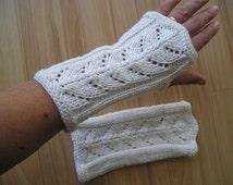 elegant wrist warmers with striking pattern, white
