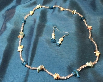 """26"""" water tones necklace and earrings"""