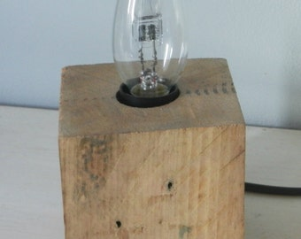 cube lamp fixture recycled raw pallet wood