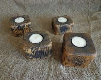 Candle Holder, Wooden Candle Holder, Rustic Wood, CandleBlock, Rustic Candleholders, Set of 4