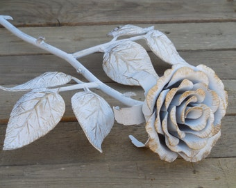 Forged metal rose, Steel rose, White and gold, Iron flower, Metal sculpture, Wrought iron, 11th Anniversary gift, Valentine's Day gift