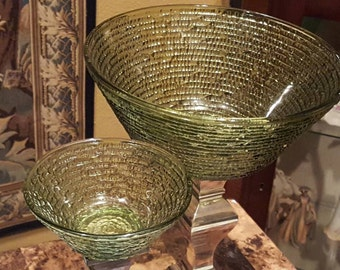 Vintage Anchor Hocking Sereno vintage serving bowl chip and dip set Green Ripple glass 1960s mid century kitchenware AHSR2