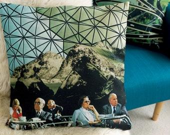 Throw pillow, Designer pillow, Buckminster Fuller, Collage, Sofa cushion, Home decor for sofa or couch