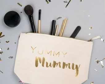 Yummy Mummy Large Zipped Make up / Toiletry Bag with Gold foil on a  Natural Cotton Canvas