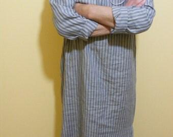 Striped Mens Linen Caftan / Moroccan Robe / Beach Wear / Lounge Wear / Flax Tunic