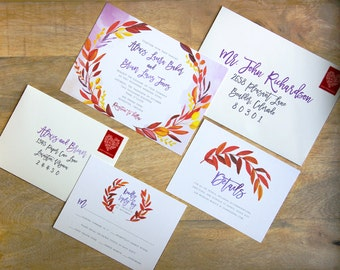 Fall Wreath Wedding Invitation Sample