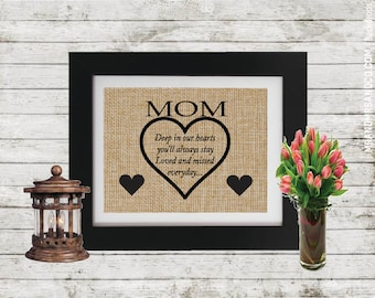 Mom Deep In Our Hearts - Sympathy Gift - Mother Memorial Gift - Personalized Memorial gift - In Memory of Mom - Loss of a Mom - Parent loss