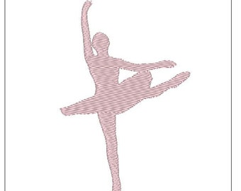 Ballet Dancer silhouette shadow embroidery pattern 4 inch download for Machine Embroidery