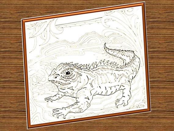 Tuatara Reptile Digital Design Coloring Page Large A3