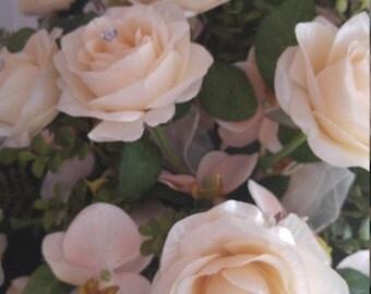 Cream Jeweled Cascading Bridal Bouquet