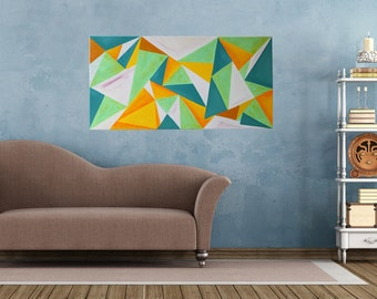 Abstract acrylic painting 100x50cm painting unique-contemporary art, colorful triangles