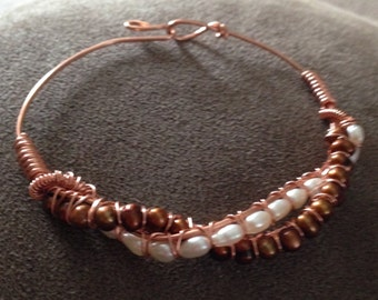 Brown, white fresh water pearls copper bracelet