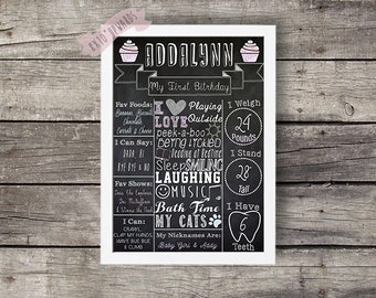 My First Birthday Chalkboard/ Chalkboard Sign/Chalkboard Birthday/Pastel Chalkboard/Black&White Birthday/First Birthday