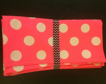 Pink Polka Napkins - Set of 4