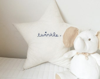 star cushion with linen and 'twinkle'