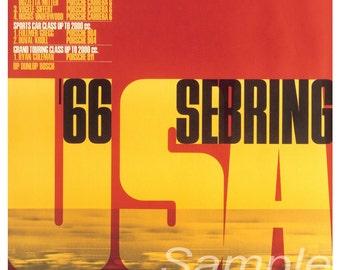 Vintage 1966 Porsche Sebring Motor Racing Poster Print