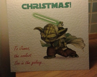 Personalised Star Wars Christmas card Yoda. Sent for you or to you.