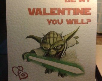 Star Wars Yoda Valentine's Card - Be My Valentine You Will? Style 2.