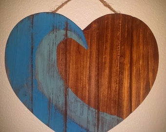 Wave Heart, Wood Art
