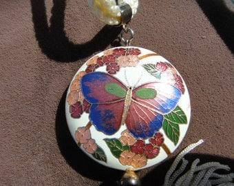 Cloisonne Butterfly  necklace white  tassel cloisonne floral necklace vintage