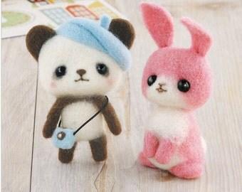 Needle Felting Kit  Panda and Pink Rabbit H441-369 by Hamanaka