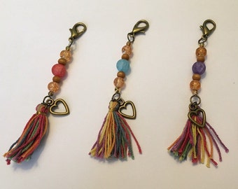 Multicolored Tassle Keychain with Heart Charm