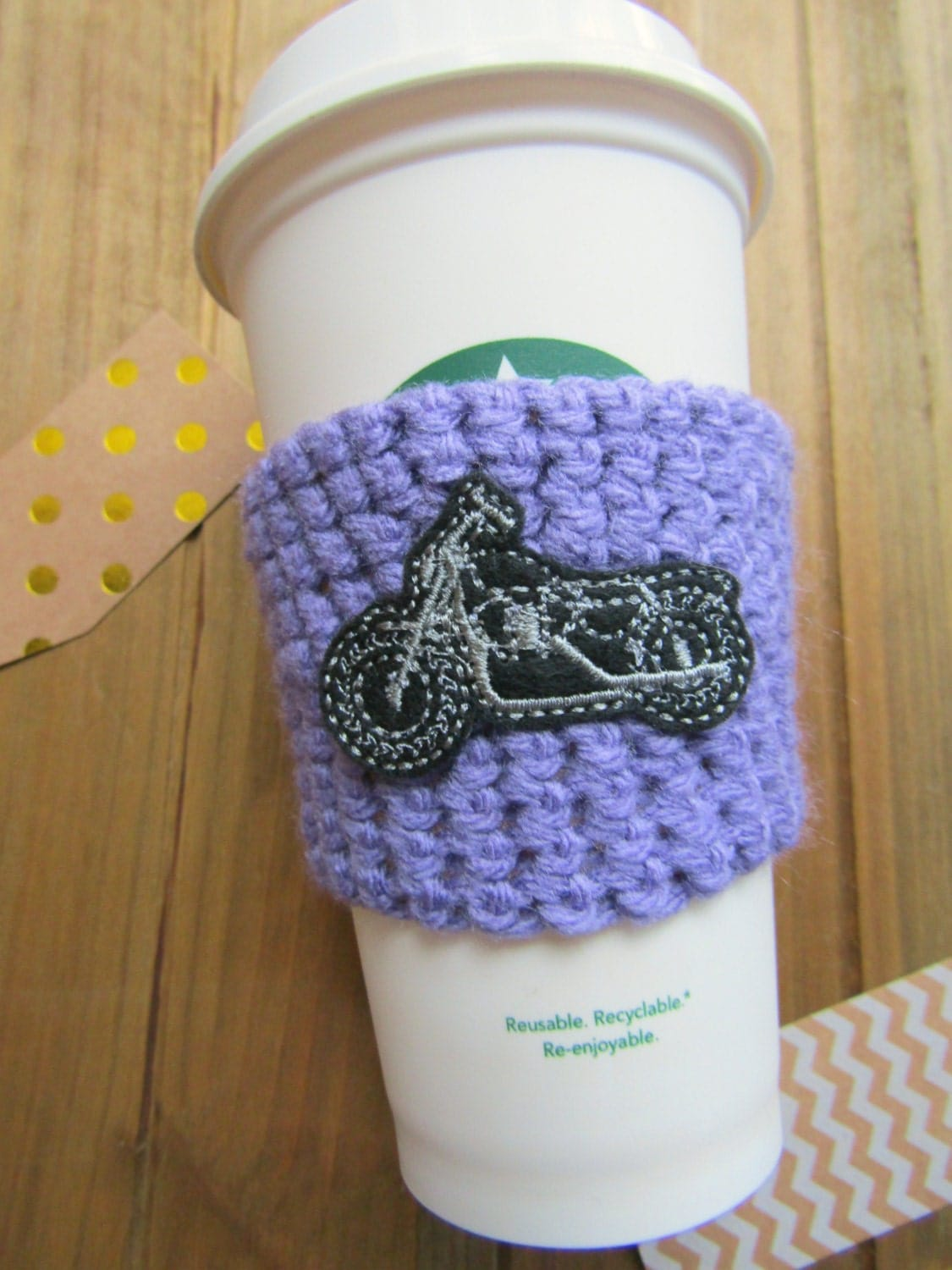 Motorcycle Mama Patch Starbucks Coffee Sleeve Birthday Gift