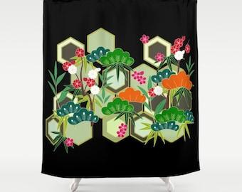 Floral Shower Curtain, Kimono Print Shower Curtain, Black Bath Decor, Floral Bathroom Accessories, Black Bathroom, Japanese Bathroom, Flower