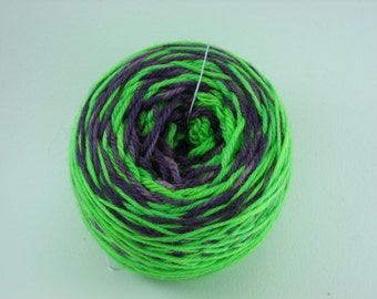 Chartreuse and purple striped yarn