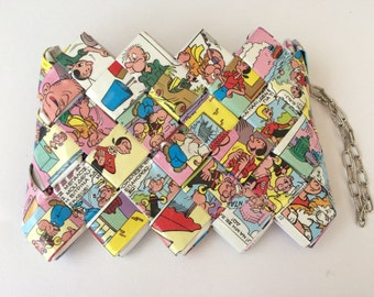 Recycled vintage comic book Popeye wallet, comic wallet , Popeye and Olive, vintage Popeye comic , candy wrapper wallet , handmade wallet