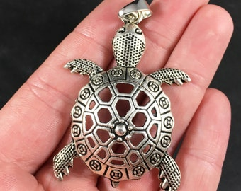 Large Silver Toned Sea Turtle Pendant Necklace