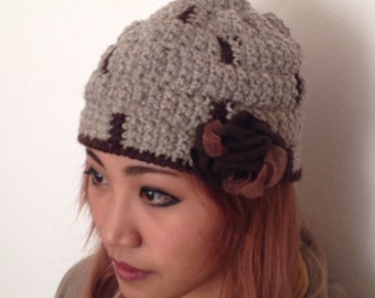 Charleston handmade wool hat with rose