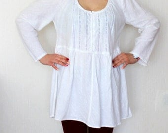 WHITE Linen tunic Maternity tunic.half buttoned .babydoll tunic. loose fit soft linen  tunic .designed and made by AnBerlinen