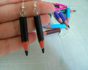 Earrings wood pencils / colors to choose among 24 colour pencils