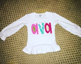 Applique Name Ruffle Shirt