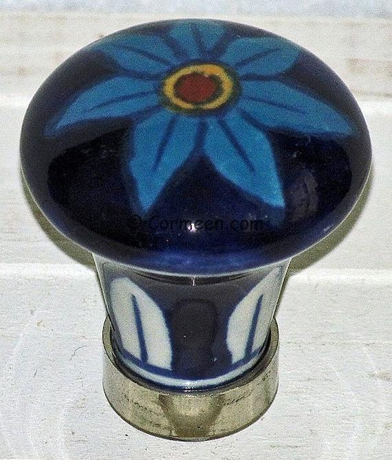 Set Of 6, Decorative Ceramic Knobs, Blue Daisy, Kitchen