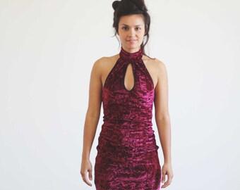 Carla Velvet Dress Red
