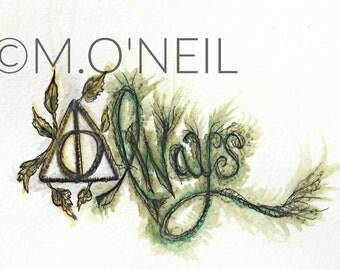 "Harry Potter inspired ""Always"" Watercolor"