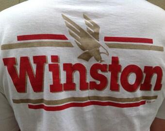 Vintage Winston T-shirt white gold eagle cigarette Winston tobacco advertising T-shirt 1992