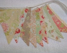Pastel coloured Fabric Bunting, shabby chic style, Rustic Wedding Banner, Baby Shower Flag Garland,  Double Sided Flags