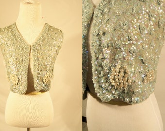 1960's Beaded and Sequins sleeveless jacket/Vintage beaded jacket/1960's bolero jacket/Sequins Evening Top/Sequined & Beaded