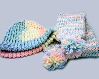 Knitting Pattern Hat Scarf Combo : Knit hat scarf combo Etsy