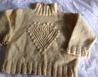 Hand knitted girls' jumper age 2-3 years